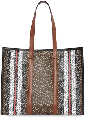 Burberry Monogram Stripe E-canvas Tote Bag