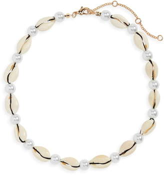 BP Shell & Imitation Pearl Collar Necklace