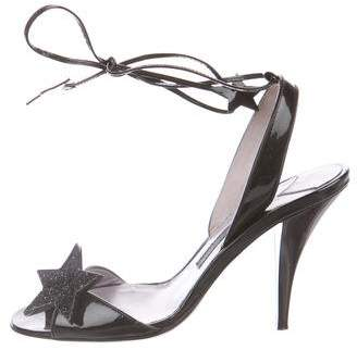 Marc Jacobs Patent Leather Lace-up Sandals