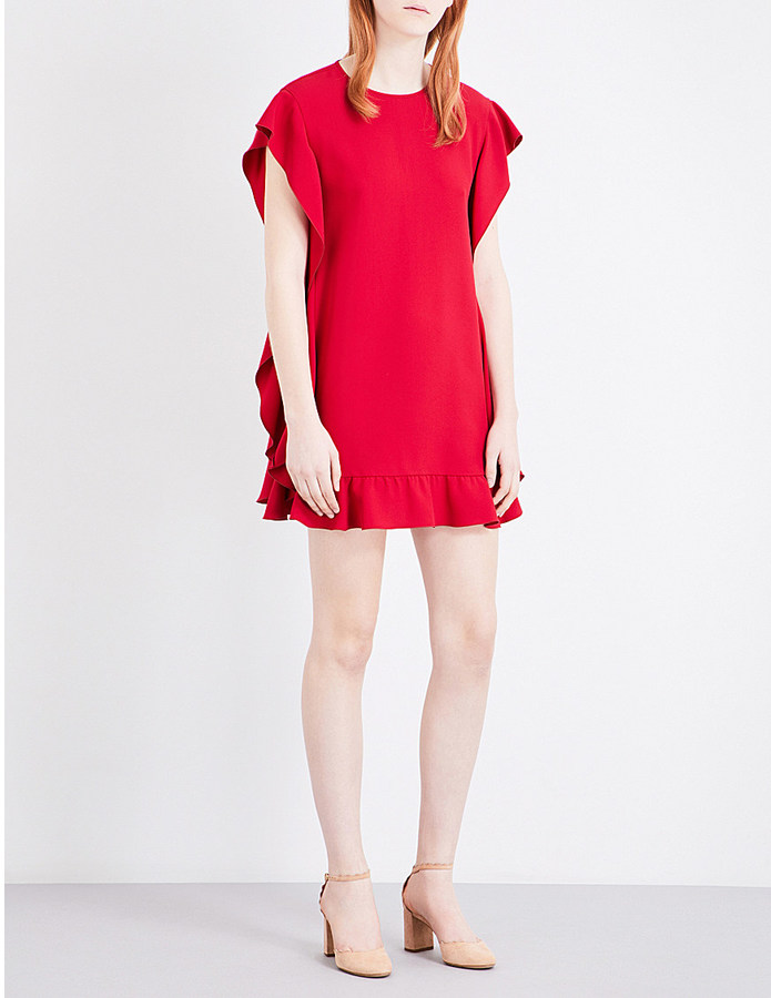 RED Valentino RED VALENTINO Ruffle-panelled crepe dress
