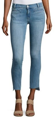 MiH Paris Stagger-Hem Skinny Jeans, Medium Blue $225 thestylecure.com