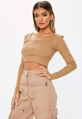 Missguided Camel Zip Front Rib Crop Top
