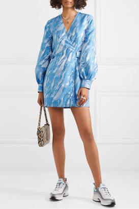 Ganni Jacquard Mini Wrap Dress - Blue