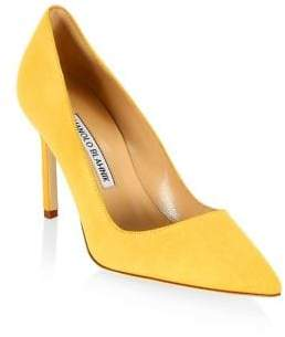 Manolo Blahnik BB 90 Suede Point Toe Pumps
