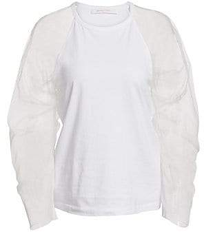 See by Chloe Women's Tulle Sleeve T-Shirt
