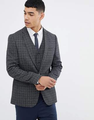 Asos DESIGN skinny blazer in charcoal wool mix grid check