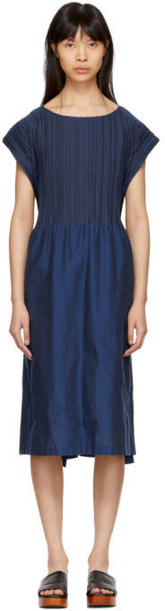 Blue Frame Pleats Dress