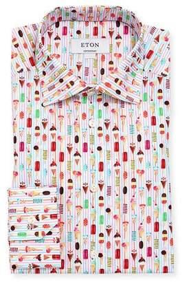 Eton Ice Cream Striped Cotton Dress Shirt