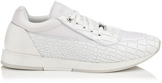 Jimmy Choo JETT White Nylon and Crocodile Print Brushed Leather Low Top Trainers
