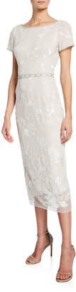 Marchesa Short-Sleeve Metallic Floral Embroidered Sheath Dress w/ Beaded Trim