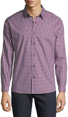 Neiman Marcus Men's Regular-Fit Dobby Check Button-Down Cotton Sport Shirt