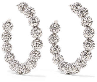Tom Ford (トム フォード) - TOM FORD - Oversized Silver-tone Crystal Hoop Earrings - One size