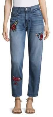 Joie Rose Patch Cotton Boyfriend Jeans