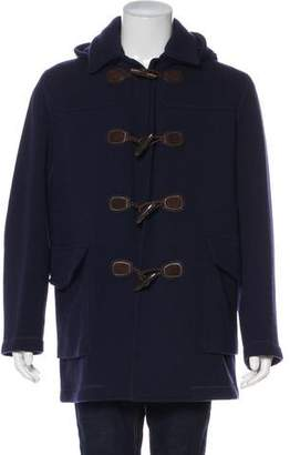Gucci Leather-Trimmed Wool Toggle Coat w/ Tags