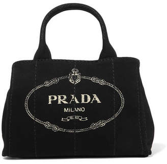 Prada Giardiniera Printed Canvas Tote Black