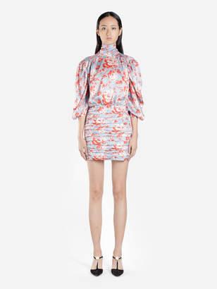 9374945a Magda Butrym WOMEN'S MULTICOLOT MULTIFLOWER ROSE THREE QUARTER SLEEVES  SHORT DRESS