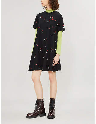 McQ Swallow-print cotton-jersey dress