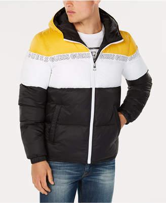 GUESS Men's Colorblocked Logo-Print Hooded Puffer Coat