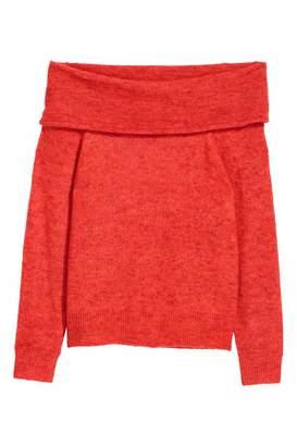 H&M Off-the-shoulder Sweater - Red melange - Women