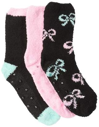 Betsey Johnson Black Bow Patterned Fuzzy Socks - Pack of 3