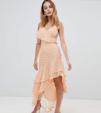 Asos DESIGN Petite asymmetric rufflle broderie maxi dress