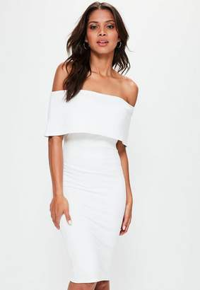 Missguided White Cut Out Back Longline Overlay Midi Dress