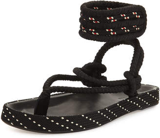 Isabel Marant Epipa Flat Rope Thong Sandals Black