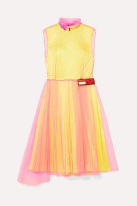 Prada Layered Tulle And Silk-satin Dress - Yellow