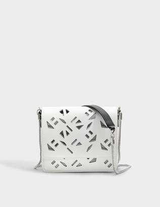 Kenzo Flying Logo Essentials Shoulder bag with Chain in White Gummy Leather