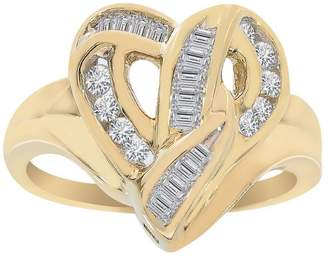575 Denim 14K Yellow Gold 0.35ct Diamond Heart Cluster Ring Size