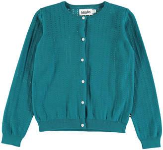 Molo Georgina Open-Knit Long-Sleeve Cardigan, Size 2T-12