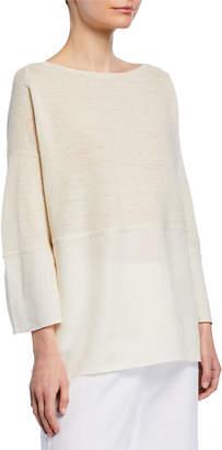 Lafayette 148 New York Woven Linen Sweater w\/ Metallic Trim