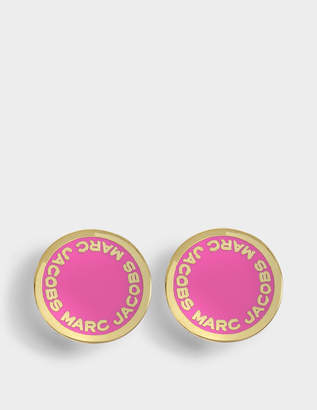 At Monnier Frères Marc Jacobs Logo Disc Studs In Neon Pink Br