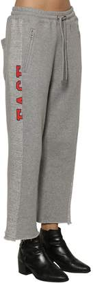 Facetasm Logo Print Raw Hem Cotton Sweatpants