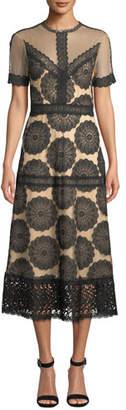 Nightcap Clothing Pinwheel Embroidered Lace-Trim Dress