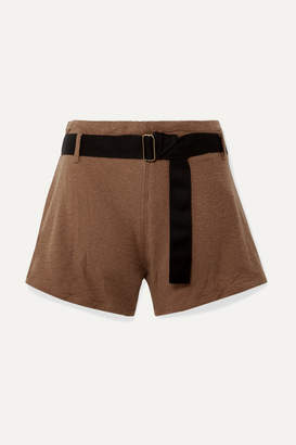 Albus Lumen - Traveller Belted Cotton-blend Terry Shorts - Brown