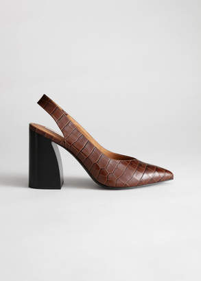 And other stories Pointed Slingback Croc Heels