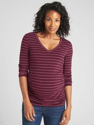 Gap Maternity Pure Body Stripe Long Sleeve V-Neck T-Shirt