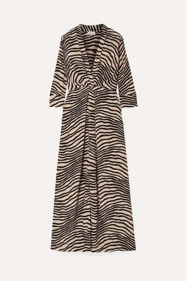 By Malene Birger Diya Zebra-print Gathered Crepe De Chine Maxi Dress - Zebra print