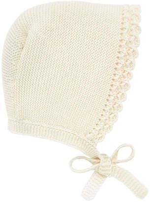 Carrera Pili Knit Scalloped-Trim Baby Bonnet