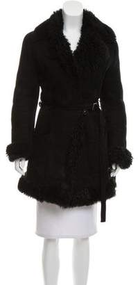 Gianfranco Ferre Shearling-Trimmed Belted Coat