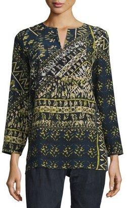 Lafayette 148 New York Adeline Bracelet-Sleeve Printed Silk Blouse, Galaxy Blue Multi $448 thestylecure.com