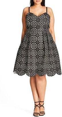 Plus Size Women's City Chic Laser Lady Fit & Flare Dress $103.99 thestylecure.com