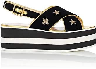 Gucci Women's Embroidered Velvet Platform Sandals