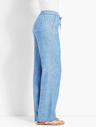 Talbots Chambray Linen Wide-Leg Pant