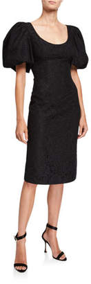 Zac Posen Terry Lace Puff-Sleeve Cocktail Dress