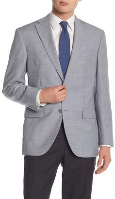 David Donahue Navy\u002FWhite Houndstooth Two Button Notch Lapel Classic Fit Sportcoat