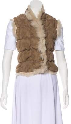 Joseph Shearling-Trimmed Leather Vest