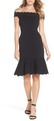 Eliza J Off the Shoulder Flounce Hem Sweater Dress