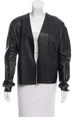 J Brand Leather Open-Front Jacket